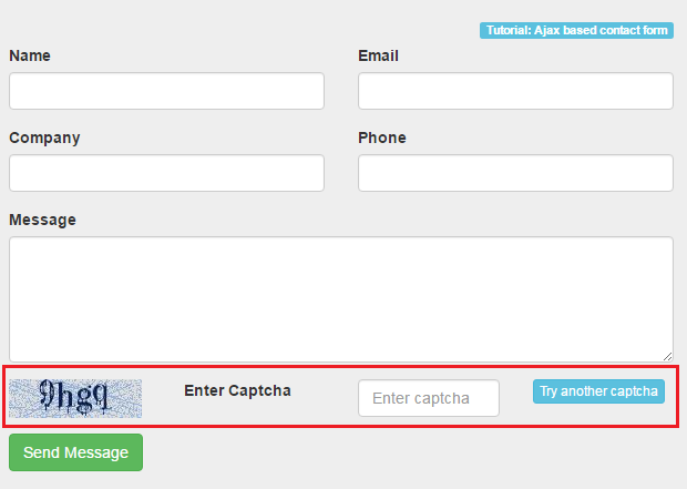 Ajax based contact form