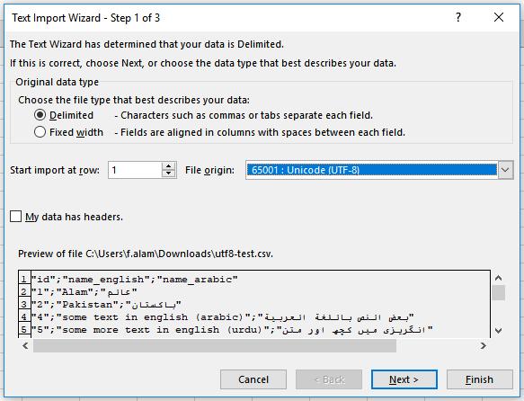 unicode utf-8 file origin